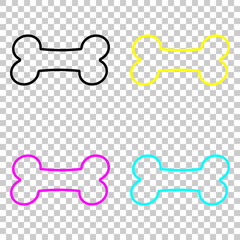 Dog bone icon. Colored set of cmyk icons on transparent background.