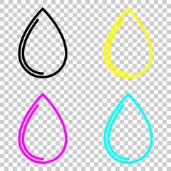 water drop icon. Colored set of cmyk icons on transparent background.