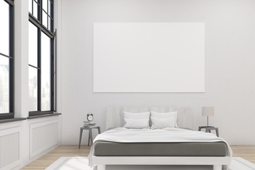 Front view of a master bedroom with a bed, two bedside tables and a large horizontal poster hanging on a white wall. Large windows. 3d rendering. Mock up. Toned image