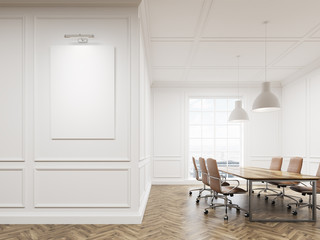 Meeting room interior with white walls, long conference table surrounded with chairs and a large window. Vertical poster on the wall. 3d rendering. Mock up.