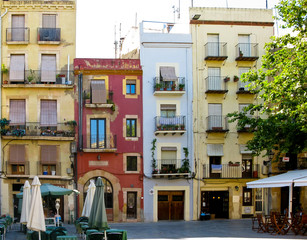 Picturesque area with small houses in Tarragona, Spain.