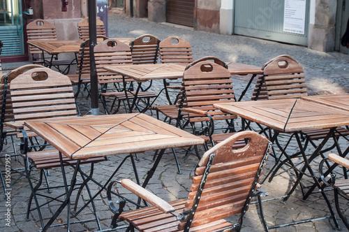 Chaises En Bois Terrasse De Restaurant Stock Photo And Royalty Free