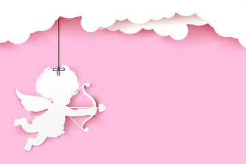 Cupid holding arrow with shadow on pink background with copyspac