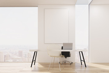 White office with a narrow and a wide window, large table with a laptop and a transparent visitor's chair. Poster. 3d rendering. Mock up