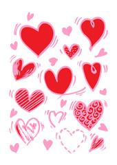 Hearts set. Hand drawn. Design elements for Valentine's day.