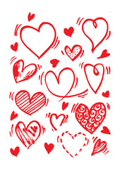 Hearts set. Hand drawn. Design elements for Valentine's day.