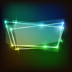 Abstract neon background with colorful banners