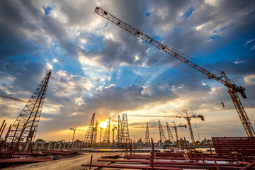 construction site with sunset
