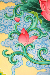 Image ot Lotus painting on chinese temple