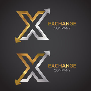 Letter X logo design template Gold and Silver color. Arrow creative sign