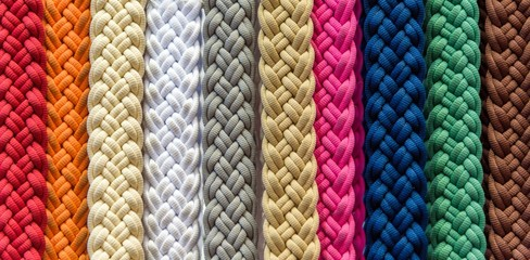 Many colored and braided ropes hanging at a maeket stall in Melbourne Australia
