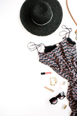 Trendy feminine clothes and accessories. Flat lay, top view