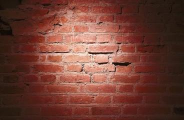 a light spot on a brick wall