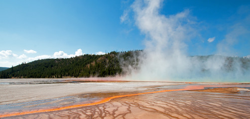 Midway Geyser Basin at Grand Prismatic Spring in Yellowstone National Park in Wyoming US of A