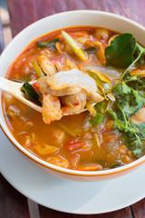 spicy pork tendon soup
