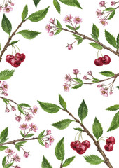 floral frame with cherry tree branches, flowers, leaves and berries