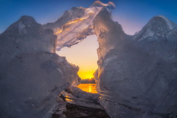 The sun sets of glacier in winter of seoul,Korea