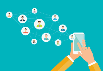 business social network on mobile concept and people business communication connection concept