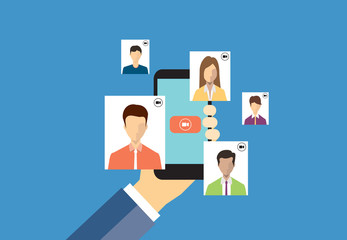 business people chat on video call concept.and people business communication connection concept.
