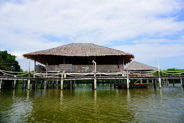 Tropical riverside local cottage or straw house in Thailand