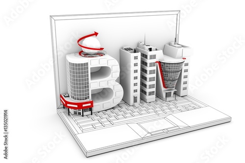 Bim as text in the notebook 3d illustration stockfotos for Bim academy