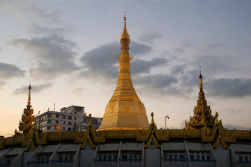 Stupa of Sule pagoda at  twilight. Yangon, Myanmar