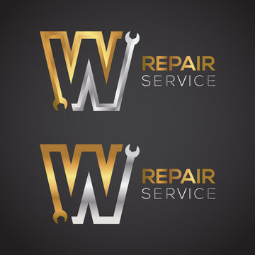 Letter W with wrench logo Gold and Silver color,Industrial,repair,tools,service and maintenance logo for corporate identity