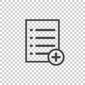 Add list document icon vector flat illustration. Isolated documents symbol. Paper page graphic design pictogram