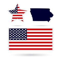 Map of the U.S. state of Iowa on a white background. American fl