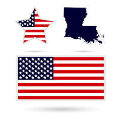 Map of the U.S. state of Louisiana on a white background. Americ