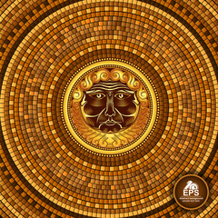Round greek tile geometric background with beard god face in center