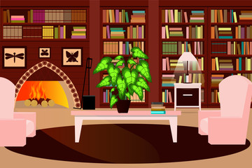 Cozy living room with a fireplace, a bookcase and a chair. Vector illustration.