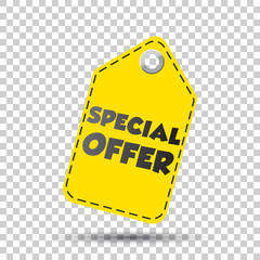 Special offer yellow hang tag. Vector illustration