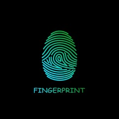 Colored fingerprint icon identification isolated on black background. Security and surveillance system