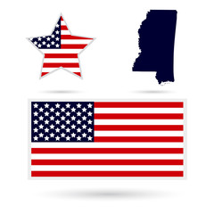Map of the U.S. state of Mississippi on a white background. Amer