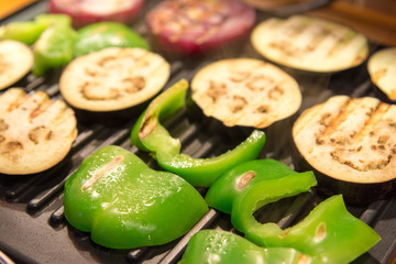 paprica and eggplant on the grill
