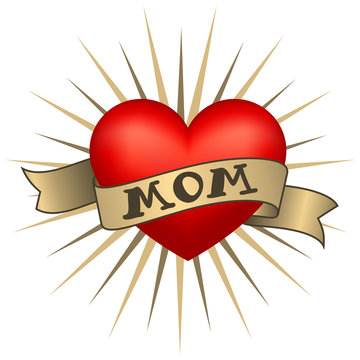 Retro tattoo heart with gold ribbons and word Mom. Vector