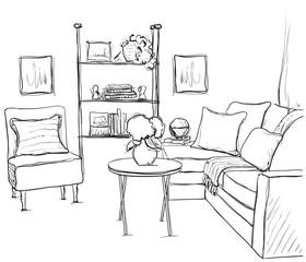 Room interior sketch. Hand drawn sofa and furniture.