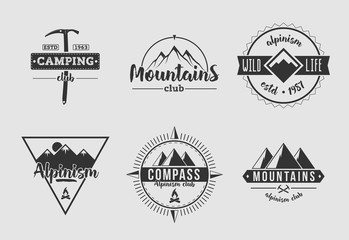 Mountains Camping White and Black