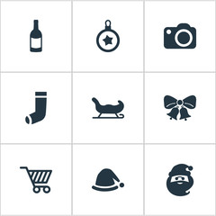 Set Of 9 Simple Celebration Icons. Can Be Found Such Elements As Drink Bottle, Christmas Decoration, Christmas Cap And Other.