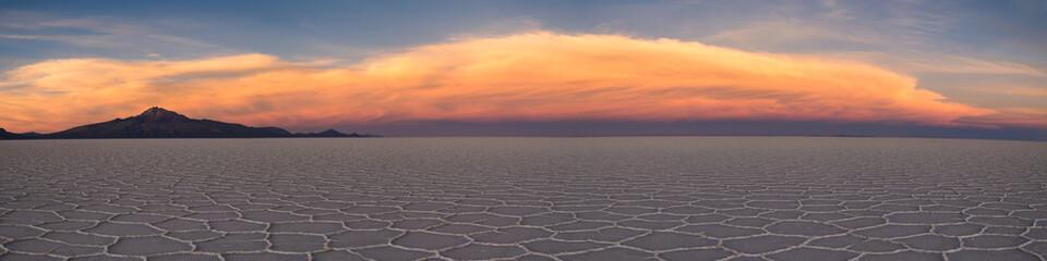 Panorama of Salar de Uyuni at sunset