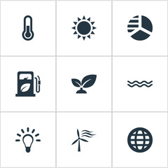 Set Of 9 Simple  Icons. Can Be Found Such Elements As Fahrenheit, Earth, Naval And Other.