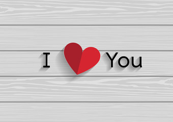 I LOVE YOU - Paper Origami background or card. Vector illustration