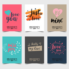 Happy Valentine's Day greeting card typography flyer template with lettering. Poster, card, label, banner design set. Vector illustration