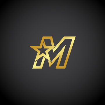 Letter M logo,Gold star sign Branding Identity Corporate unusual logo design template