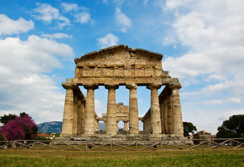 Temple of Hera at famous Paestum Archaeological UNESCO World Her