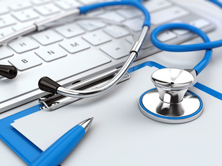 Health care concept - stethoscope on laptop keyboard with clipboard and pen. 3d illustration