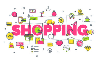 On-line shopping concept with line icons