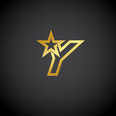 Letter Y logo,Gold star sign Branding Identity Corporate unusual logo design template