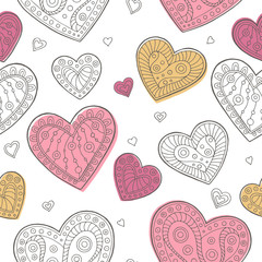 Heart graphic doodle pink yellow color seamless pattern illustration vector